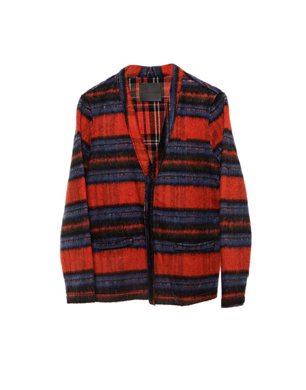 Check wool cardigan